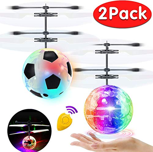 2 Pack Flying Ball Kids Toys RC Flying Toys Hand Controlled Helicopter Infrared Induction RC Flying Light Up Ball for Boys Girls Toddler Holiday Toys Gift Indoor Outdoor Game RC Drone Toy Rechargeable