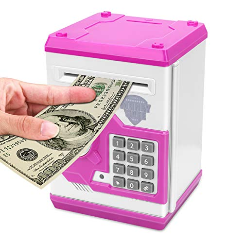 Adsoner Cartoon Piggy Bank, Electronic ATM Password Cash Coin Can Auto Scroll Paper Money Saving Box Gift for Kids (Pink)