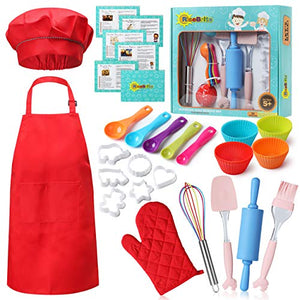 RiseBrite Real Kids Baking Set 35 Pcs includes Kids Apron, Chef Hat, Oven Mitt, Real Baking Tools and Recipes - Perfect Gift for Kids