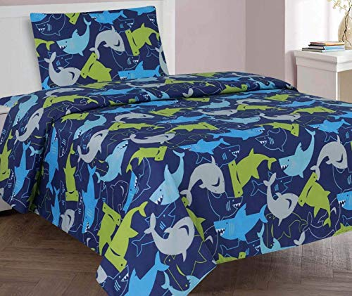 Golden Linens Twin Size 3 Pcs Reversible Printed Lime Green, Blue, Navy Blue and Grey Shark Microfiber Kids Sheets Set