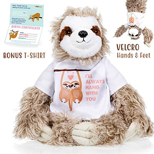 Sloth stuffed animal - The Original I'll Always Hang with you Large Sloths plush animals toy. Sloth gifts w/ Velcro Hands for Birthdays, Valentines or Christmas. Cute, Fun, Soft, and Pre Wrapped!