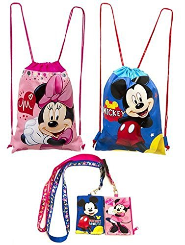 Disney Mickey and Minnie Mouse Drawstring Backpack Plus Lanyards with Detachable Coin Purse