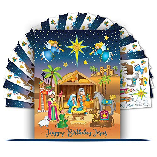 Colonel Pickles Novelties Nativity Stickers – 12 Sticker Sheet Sets – Christmas Crafts for Kids