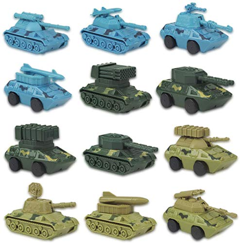 Liberty Imports 12 Pack Kids Wind Up Battle Tanks Model Toys - Fun Army Wind-Up Action Military Vehicles Bulk (1 Dozen)
