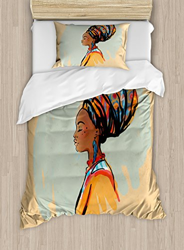 Ambesonne African Duvet Cover Set, Watercolor Profile Portrait of Native Woman with Hairdo and Earrings, Decorative 2 Piece Bedding Set with 1 Pillow Sham, Twin Size, Pastel Brown