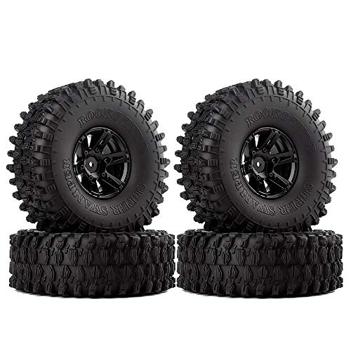 INJORA 1.9 Inch Tyre Set 4Pcs Beadlock Wheel Rim and Rubber Tires for 1/10 RC Crawler Axial SCX10 90046 (Black)