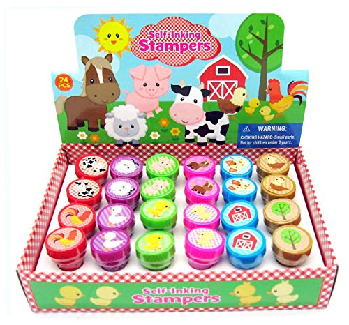TINYMILLS 24 Pcs Barnyard Farm Animals Stampers for Kids