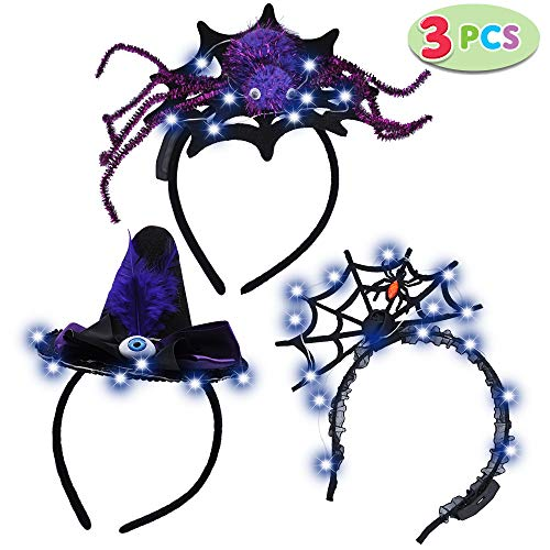JOYIN 3 Pack LED Halloween Headbands for Halloween Party Supplies Includes Spider & Spider Web & Witch Hat