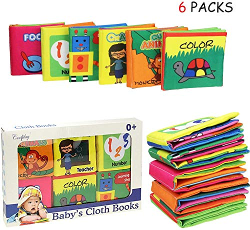 Coolplay Baby Touch and Feel Non-Toxic Soft Cloth Book Set for 0-6 Months Squeak, Rattle, Crinkle - Pack of 6