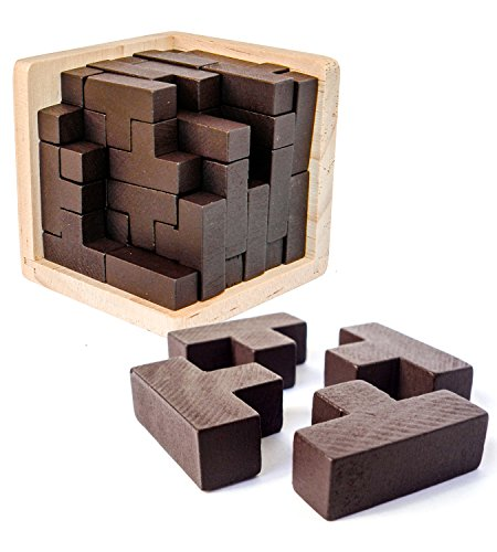 Original 3D Wooden Brain Teaser Puzzle by Sharp Brain Zone. Genius Skills Builder T-Shape Pieces with Tetris Fit. Educational Toy for Kids and Adults. Gift Desk Puzzles