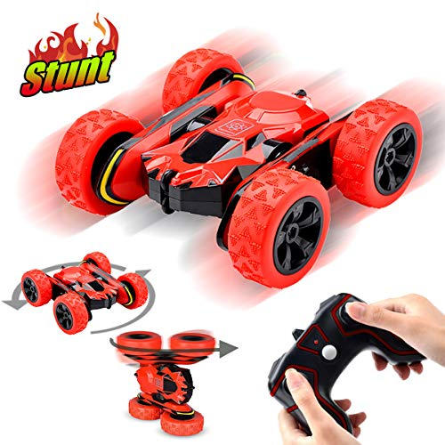 Pussan Gifts for 6-10 Year Old Boys Girls Remote Control Car for Kids RC Stunt Cars 1:28 Monster Trucks RC Crawler Off Road 360 Degree Rotation 4WD Summer Beach Toys for Children Red