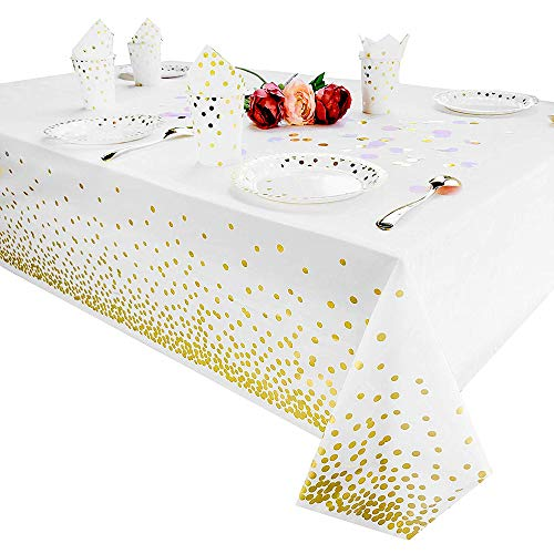 Tukcherry Plastic Tablecloths for Rectangle Tables Party Table Cloths Disposable,Rectangular Table Covers, for Parties Thanksgiving Christmas Wedding, Anniversary, (Gold)