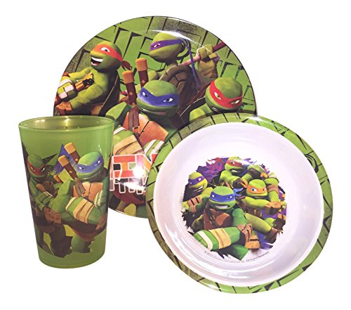 Zak Designs TMNT Mealtime Set, Includes Plate, Tumbler and Bowl