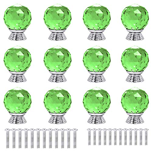 ANJUU 12 Pcs 30mm Round Shape Crystal Glass Cabinet Knobs with Screws Drawer Knob Pull Handle Used for Kitchen, Dresser, Door, Cupboard (Green)