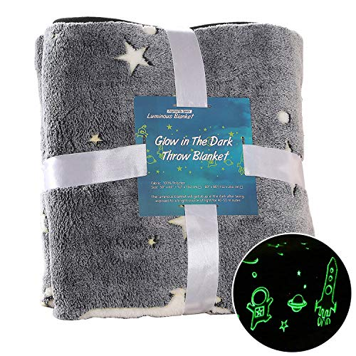 SUCHDECO Space Throw Blanket Glow in The Dark 60'' x 80'', Kids' Throw Blankets Luminous, Soft Plush Glow Throw Blankets for Girls Boys, Astronaut Birthday Star Blanket, Grey