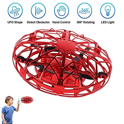 JCT UFO Flying Ball Toys Mini Drone for 4-10Years Kids Hand Controlled Flying Toys, Infrared Induction Helicopter Ball with360� Rotating and LED Lights for Children Boys Girls Kids Toys Gifts (Red)