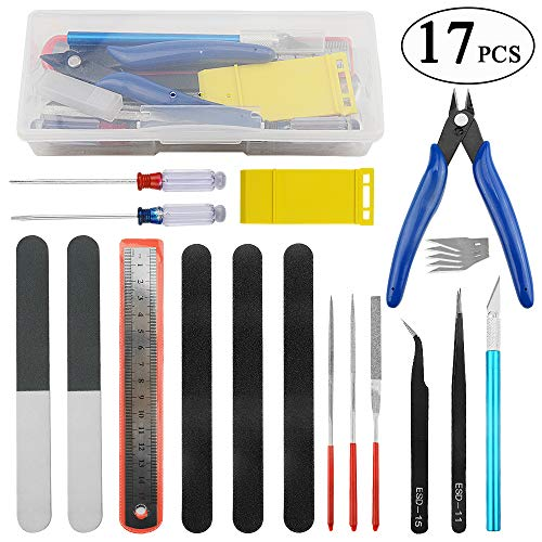 BXQINLENX Professional 17 PCS Gundam Model Tools Kit Modeler Basic Tools Craft Set Hobby Building Tools Kit for Gundam Car Model Building Repairing and Fixing(L)