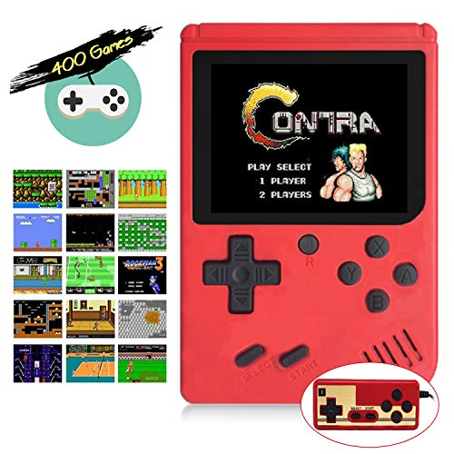 Retro FC Handheld Game Console with 400 Classic Games for Kids Adult, 3 Inch HD Screen FC Video Game Console with Much Childhood Fun, Support TV Output 2 Player & USB Rechargeable (Red, 2 Players)