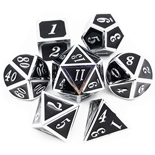 Haxtec 7PCS Metal Dice Set Silver Black D&D Dice for Dungeons and Dragons Games-Silver Black