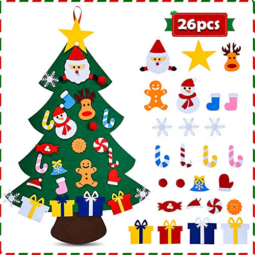 Felt Christmas Tree for Kids - 3.3 FT 3D DIY 26pcs Detachable Ornaments, �Xmas Decorations Wall Hanging Gifts for Kids& Christmas Decorations