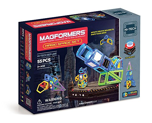 Magformers Magic Space 55 Pieces, Rainbow Colors, Educational Magnetic Geometric Shapes Tiles Building STEM Toy Set Ages 3+