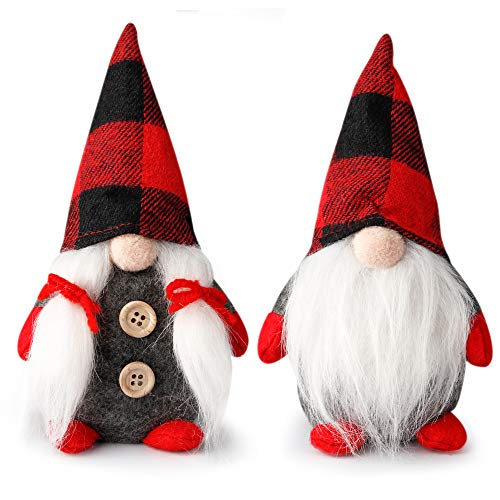 D-FantiX Mr and Mrs Christmas Gnomes Plush Set of 2, Handmade Swedish Tomte Santa Scandinavian Figurine Nordic Plush Elf Doll Gnome Ornaments Christmas Decorations Home Decor 7.5 Inch