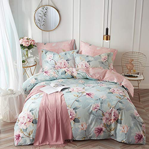 VClife Kid Bedding Sets Cotton Duvet Cover Sets Blue Pink Floral Garden Pattern Bedding Twin 1 Duvet Cover 2 Pillow Cases Boho Hotel Bedding Sets Twin for Girl Woman Teens Zipper Closure Bedding