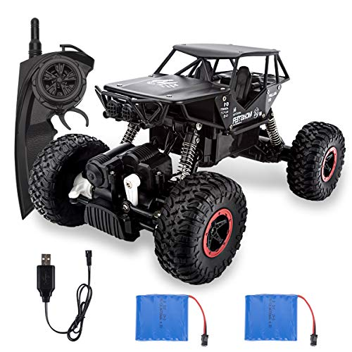 Beyondtrade RC Car, 1:18 Scale 4WD Remote Control Car Monster Trucks All Terrain 2.4Ghz Off Road Rock Crawler Vehicle with Two Rechargeable Batteries, Electric Toy RC Car Gifts for Boys Kids Adults
