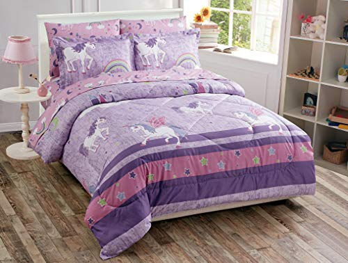 Comforter Set Unicorn Castle Rainbow Lavender Pink Purple Multi-Color for Girls Teens New # Unicorn Lavender (Twin Comforter)