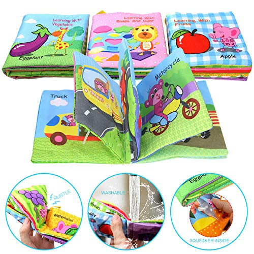 Coolplay Baby Soft Cloth Book Infant First Learning Books with Rustling Sound Crinkle Shape and Color - Pack of 4