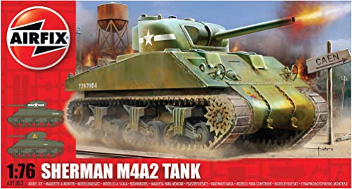 Airfix A01303 1:76 Scale Sherman M4 Mk1 Tank Military Vehicles Classic Kit Series 1