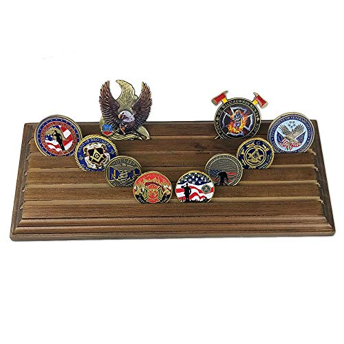 AtSKnSK 5 Row Military Challenge Coin Holder Display Stand Rack - Holds 35-40 Coins, Walnut Finish
