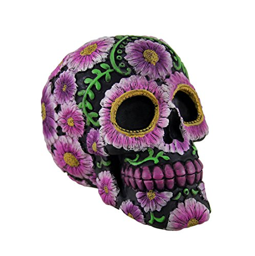 Zeckos Floral Day of The Dead Black and Pink Sugar Skull Coin Bank