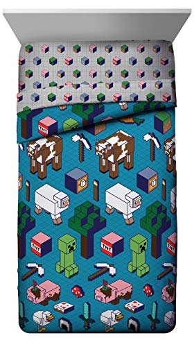 Jay Franco Minecraft Genda Iso Animals Full Comforter - Super Soft Kids Reversible Bedding Features Creeper - Fade Resistant Microfiber (Official Minecraft Product)