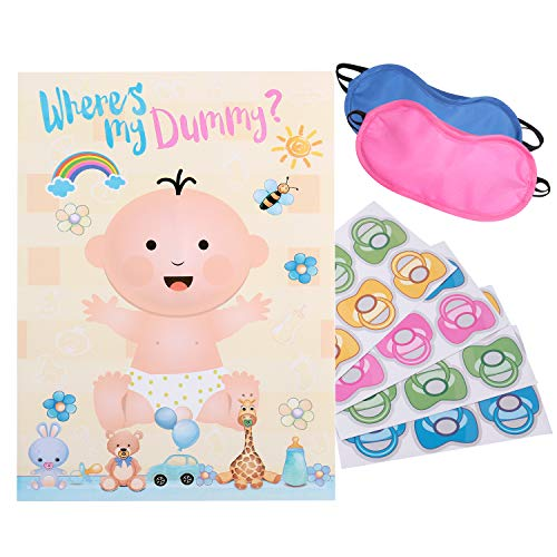 Reusable Baby Shower Game - Pin The Pacifier on The Baby | 22'' x 34'', 48 Pacifier Stickers | Baby Shower Party Decorations for Gender Neutral Boy or Girl