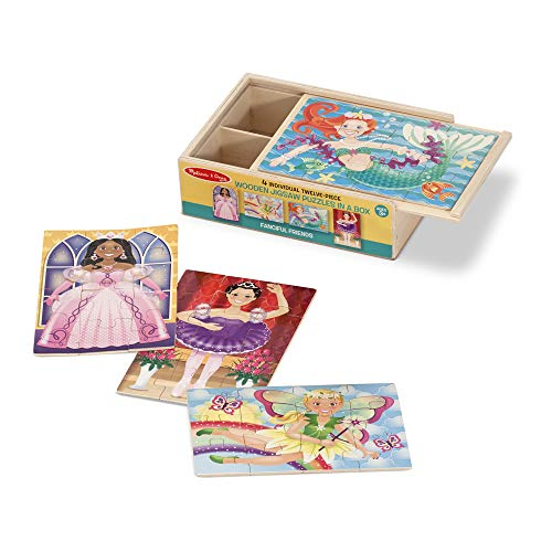 Melissa & Doug Wooden Jigsaw Puzzles in a Box - Fanciful Friends