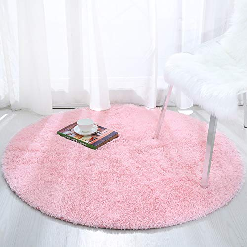 Softlife Fluffy Area Rugs for Bedroom 4' x 4' Round Shaggy Rug for Girls Kids Living Room Nursery Home Decor Floor Carpet, Pink