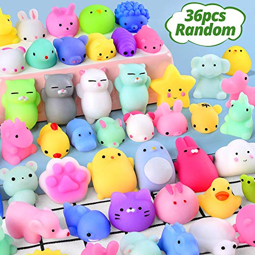 36PCS Mochi Squishy Toys FLY2SKY Party Favors for Kids Mini Squishy Animal Squishies Toys Squeeze Kawaii Squishy Stress Relief Toys Easter Bunny Cat Unicorn Squishy gifts for Boys & Girls Random