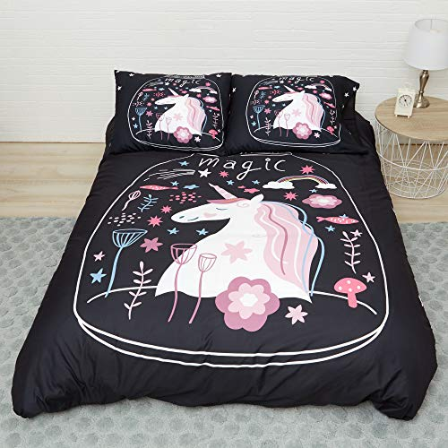 Allerassa Unicorn Bedding (Black, Twin) Duvet Cover and 2 Pillow Cases Only, no Insert