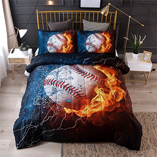 NTBED Baseball Comforter Sets for Boys Teens,3D Sports Bedding Full Size,Reversible Printed Quilt Set with 2 Pillow Shams