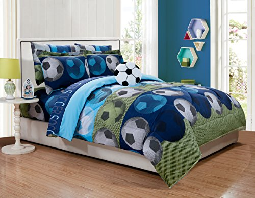 Fancy Linen Kids/Teens Comforter Set Soccer Blue Green White Black New # Soccer (Full)