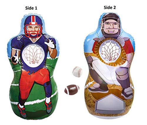 Kovot Inflatable Sports Double Sided Target Set - Inflates to 5 Feet Tall! - Soft Mini Toss Balls Included (Football/Baseball)