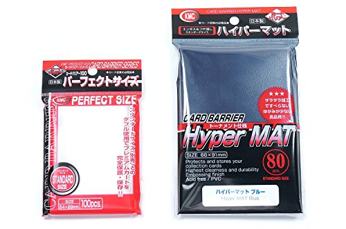 KMC Hyper Mat Sleeve Blue (80-Pack) + 100 Pochettes Card Barrier Perfect Size Soft Sleeves Value Set !