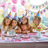 210 PCs Unicorn Party Supplies 24 guests for girls with Happy Birthday Banner, Unicorn Cake Topper, Headband & Sash, Dinning & Dessert plates,Tablecloth,Cups,Forks & Spoons Set,15 balloons, Napkins