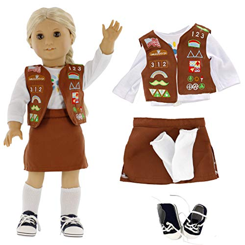 Brownie Girl Scout Doll Outfit (5 Piece Set) - Clothes Fit American Girl & All 18