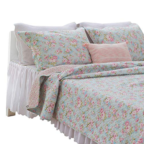 Brandream Romantic Rose Floral Bedding Set Girls Quilt Set Full Size Quilted Comforter Set 3-Piece