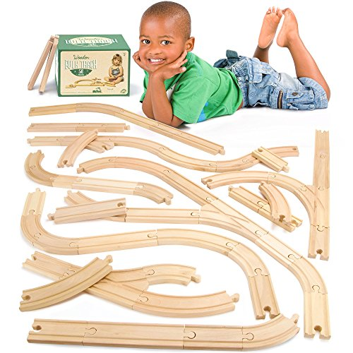 Conductor Carl 56-Piece Bulk Value Wooden Train Track Pack - Compatible with All Major Toy Train Brands