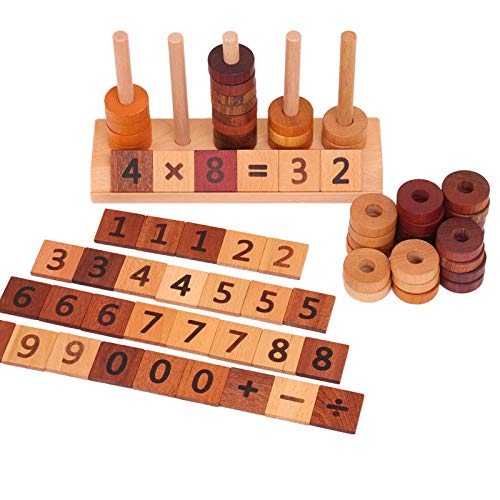 Agirlgle Wooden Montessori Toy Counting Toys for Kids Mathematics Math Toys, Counting Toys Number Blocks Shape Sorter Number Early Preschool Teaching Tool Toddler Learning Toys for Age 2 up