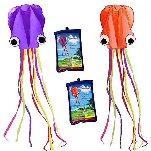 HENGDA KITE-Pack 2 Colors(Orange&Purple) Beautiful Large Easy Flyer Kite for Kids-Software Octopus-It's Big! 31 Inches Wide with Long Tail 157 Inches Long-Perfect for Beach or Park