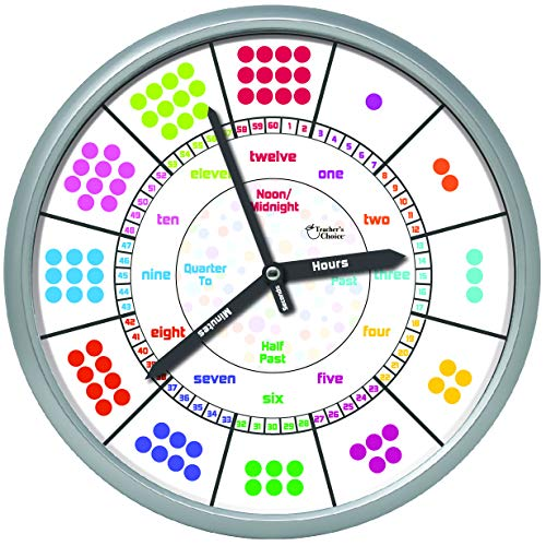 Educational Wall Clock - Silent Movement Time Teaching Clock for Teacher's Classrooms and Kid's Bedrooms (Silver/Multicolored Dots)